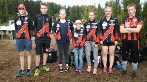 2. joukkue juoksujärjestyksessä vasemmalta oikealle: Markus Simonen, Jarkko Tiihonen, Venla Liukka, Hertta Juntunen, Salla Rönkkö, Iina Rautasalo ja Elias Liukka