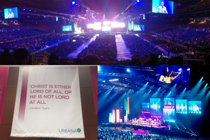 The main sessions had 16,000 people; we enjoyed great speakers (here and in smaller sessions), as well as music, the arts, and more. The bottom left shows a decoration with one of my favorite quotes.