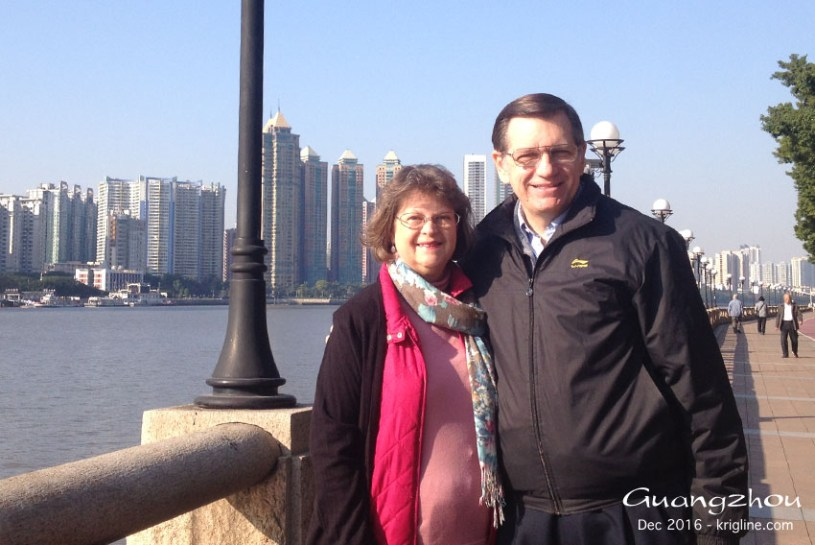 "Michael and Vivian by the Pearl River in Guangzhou. This was Vivian's first trip to ""Canton"" (Michael's fourth)."