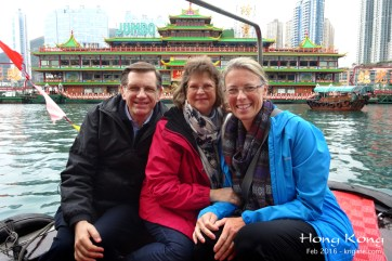 Michael, Vivian and Michael's cousin Dori enjoy a sampan ride in Aberdeen. (Click for larger image)