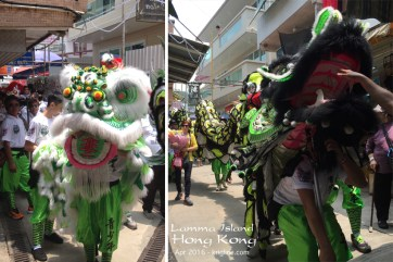 Our walk back to the ferry was interrupted by a parade of dragons and lions with their entourage. Very colorful (and noisy)!