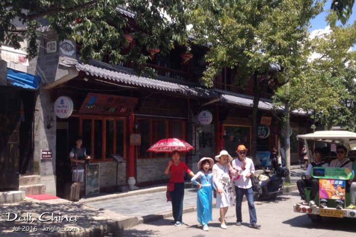 """Brian and I enjoyed a delicious lunch at The Sweet Tooth. Notice also the electric """"tourist bus"""" (they are everywhere), as are Chinese tourists!"""
