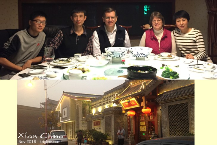 On Sunday, we met with some of our oldest friends in China. We met Mr Liang in 2000, just weeks after we moved to China, and we have been good friends ever since. His wife and son joined the reunion, treating us to a delicious dinner in this Tang-dynasty style restaurant near the city wall (you can see one of the towers in the background).