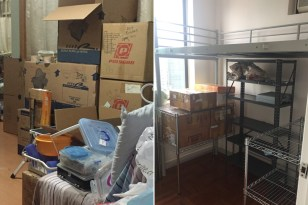 """Eventually, piles become boxes, waiting for moving day. On the right, you see our only storage space (a tiny """"bedroom""""), and the """"bunk"""" we use to give us extra storage space. (HK apartments rarely have closets, so HK people can't believe the vast """"walk-ins"""" and attics they see in American movies.)"""