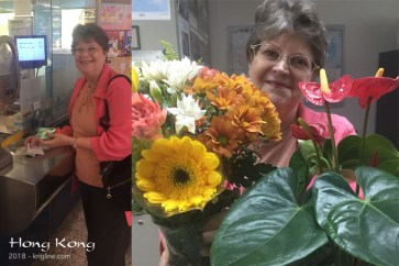 """Vivian's birthday this year came with a gift from the HK government: a """"senior citizen"""" pass that lets her ride public transportation for a fraction of what it costs me! My gift was plane tickets so she could spend time with her mother and the family, and some beautiful flowers."""