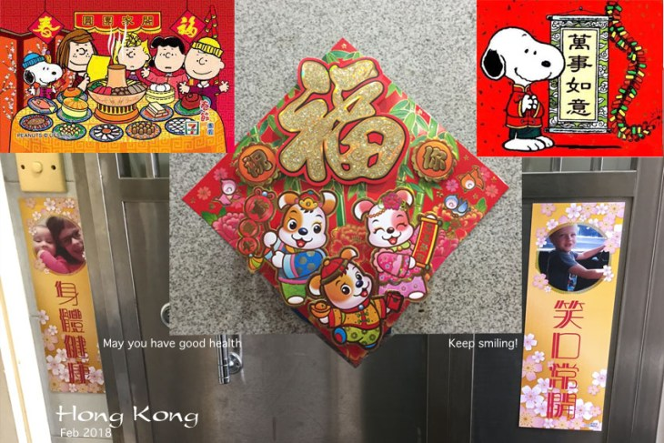 """Happy Chinese New Year! This is the """"year of the dog"""" so there are lots of cute decorations. My favorite (of course) is the ones on my own door, which feature our grandchildren, but """"second favorite"""" would be anything that features my favorite beagle: Snoopy!"""
