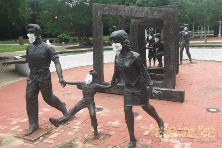 Note how someone put masks on this statue at Maxcy Gregg Park near our home. The sculpture symbolizes the stages people go through fighting cancer, and eventually recovering.