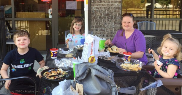 """On Tuesday, Vivian took Beth and the kids out to dinner; a late Mothers' Day celebration as """"outdoor seating"""" opens at some restaurants. I wasn't there, but I did spend time with the kids today."""
