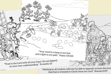 Coloring pages went with the story each day. And the kids could earn a prize for memorizing the verses.