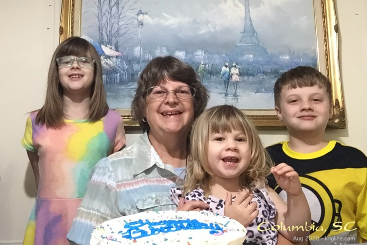"Before we left SC, Vivian celebrated her birthday with the grandkids. They get lots of ""birthday cake"" in August because Michael's BD falls at the end of the month too!"