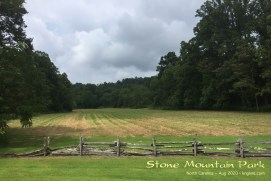 The view as we left Stone Mountain state park; we think that you can see the mountain above this field on a clear day. Maybe next time!