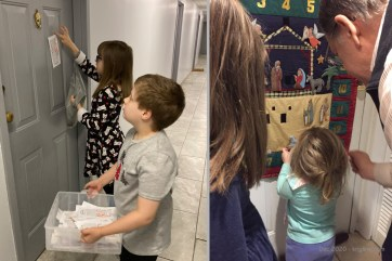 Left: we continued our Christmas tradition of taping candy canes to the doors in our apartment building. (You can read the info sheet at http://eflsuccess.com/candycane/). Right: Even 3-year-old Caroline gets to help with the Advent Calendar this year!