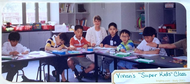 In Shanghai, Vivian was mainly studying Mandarin; but she also taught a bit, and conducted this after-school club for young foreign students.