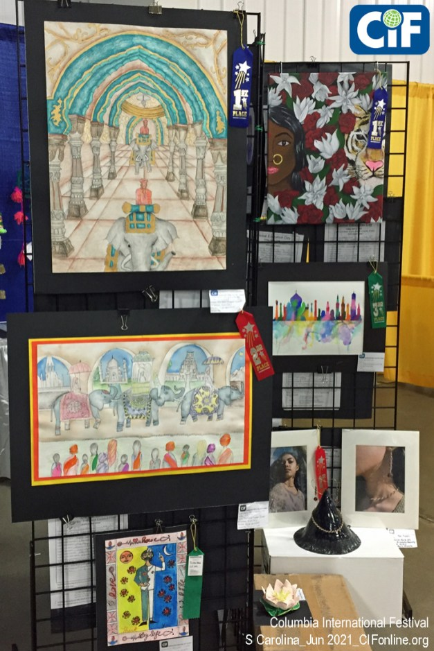 """Students from all over South Carolina submitted artwork on the theme """"Discovering India,"""" often in connection with a curriculum exploring East Asia. Many of the works were on display at the Festival, including these prize winners."""