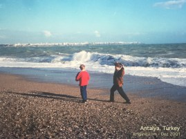 One of my more vivid memories was watching Andrew and his cousin play here, in winds so strong that they could barely stand! It was easy to imagine a 1st century ship being tossed around in such winds and waves!