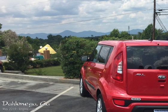 Another meeting was in Dahlonega, GA. Here's our Kia with the north Georgia mountains in the background.