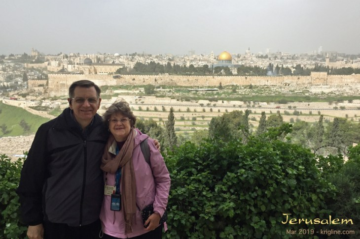 Michael and Vivian on the Mount of Olives, with Jerusalem in the background.