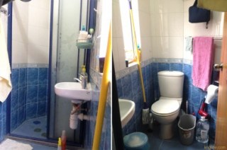 """After a week of """"bucket duty"""", we were happy to come home to a flushing toilet. It's hard to get photos in our tiny bathroom, so I'm glad phones can take a picture while flush against the wall!"""