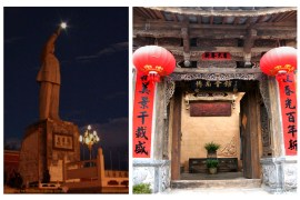 """Here are two old Lijiang photos I love. In the first, I snapped The Chairman """"reaching for the moon"""" (this statue is one of the few that still remain; in the 1980s I saw them in many cities). And this ornate antique door beckons us to enter Lijiang's cultural heritage and beauty."""