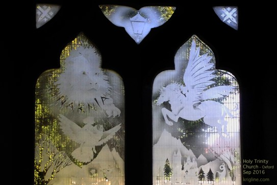 """This is the only """"Narnia"""" church window I've ever seen, but it was wonderfully appropriate next to the pew in which Lewis so often worshipped."""