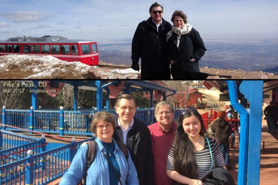 """With good friends on Pike's Peak in Colorado Springs. Tim was """"best man"""" in our wedding; his daughter is about the same age as our son. And yes, it was VERY cold up there!"""