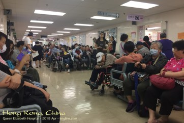 (My initial HK appointment for evaluation) We are all waiting for our appointments with one of several surgeons. I think it took only about two hours--not bad for a crowd like this! And care of HK's public hospitals is very inexpensive, for which I'm grateful.