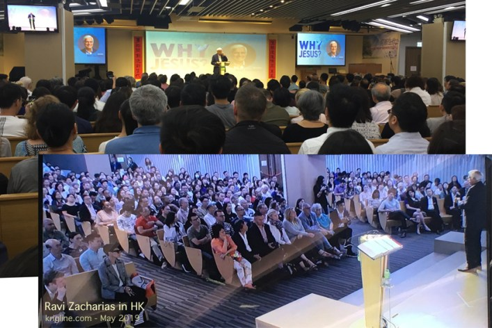 Just before I left HK I got the chance to hear Ravi Zacharias. (I took the top photo; the other is a picture of the TV monitor!) I'd heard recorded messages of this wonderful speaker many times, but it was a delight to hear him in person.