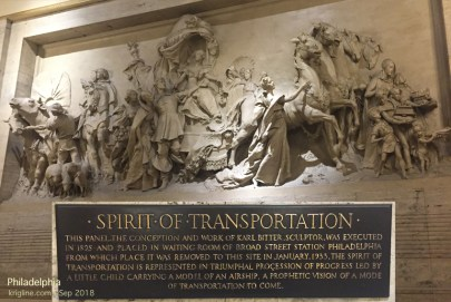 The sign under this beautiful mural at the Philadelphia train station says it dates to 1895. I've enlarged the plaque so you can read more about it.