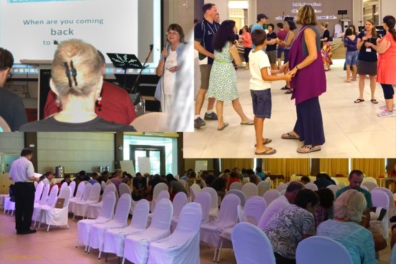 """This montage shows that Vivian was """"in front"""" a lot too--mostly giving daily announcements, but also in ladies' meetings. The bottom shows me leading a """"Concert of Prayer,"""" which is always a blessing. And this year, our Physical Therapist organized a Swing Dancing class for the brave--Vivian and I have four left feet, but we enjoyed the effort!"""