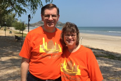 Of course, we had to show off the T-shirts our son Andrew had designed for us last summer! People said the matching, bright shirts made us easy to find that day.