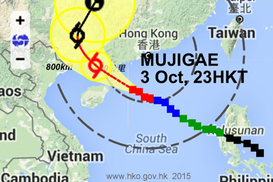 Typhoon Mujigae has started dropping rain on HK, and will continue to do so for several days.
