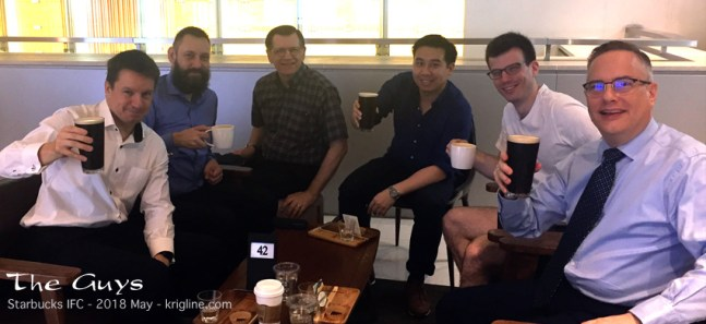 """Speaking of guys, here's a few of the men I meet with weekly, as a part of the """"Walk to Emmaus"""" community. We share with and encourage each other, and pray for one another. I think all men need a group like this! And we meet at 7:30am, so no, that's not beer--it's """"Nitro Coffee"""" at Starbucks in Central!"""