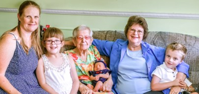 Vivian, her mom, our daughter, and all three grandchildren. Nice family photo!