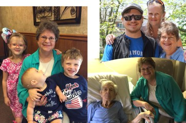 """That's Vivian with her mother; above that she's with our two children (who live a day's drive apart, so they don't see each other much). On the left, Vivian said goodbye to the grandkids yesterday. Our youngest granddaughter's shirt says """"I make Gramma smile""""!"""