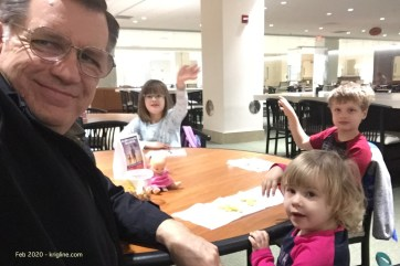 """Grandma takes care of the kids daily while Beth works, but Grandpa sometimes steps in to help. Here, we're waiting at the hospital for Mama to get a """"boot"""" off her broken foot."""