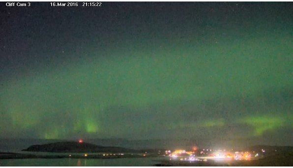A screenshot of the Shetland Cliff Cam capturing the aurora. © Promote Shetland