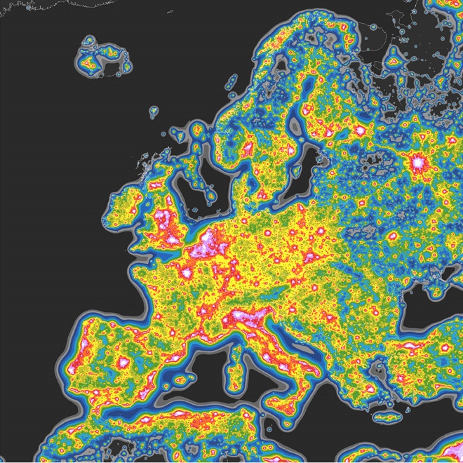 Map of Europe's artificial sky brightness, in twofold increasing steps, as a ratio to the natural sky brightness (Falchi et al., 2016).