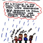 drawing of family with text in speech bubble