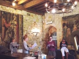 Nichole Bird, Rachel Winters, Laura Soper and Professor Alison Findlay in The Buttery