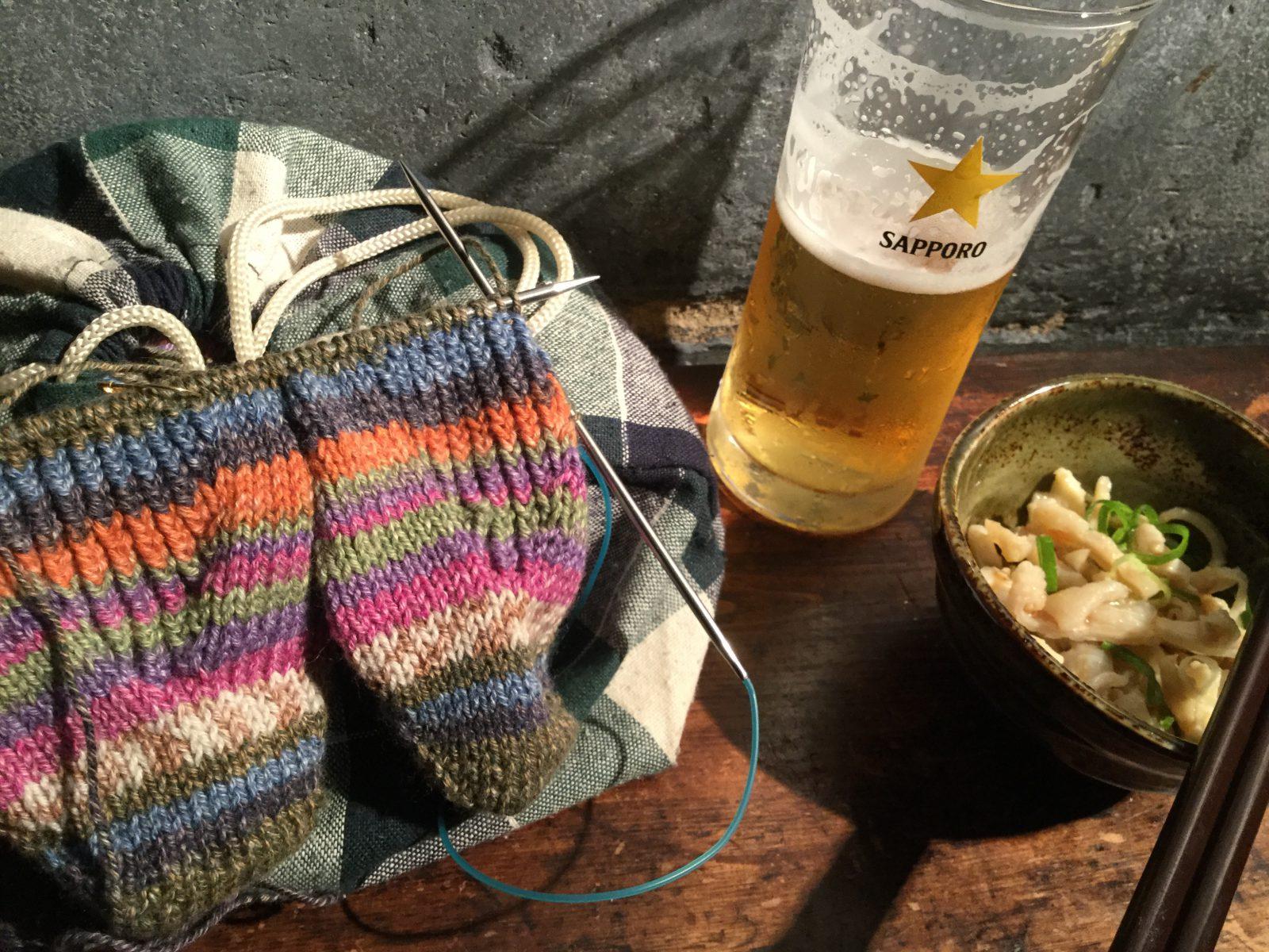 立ち飲みながらの同時編み