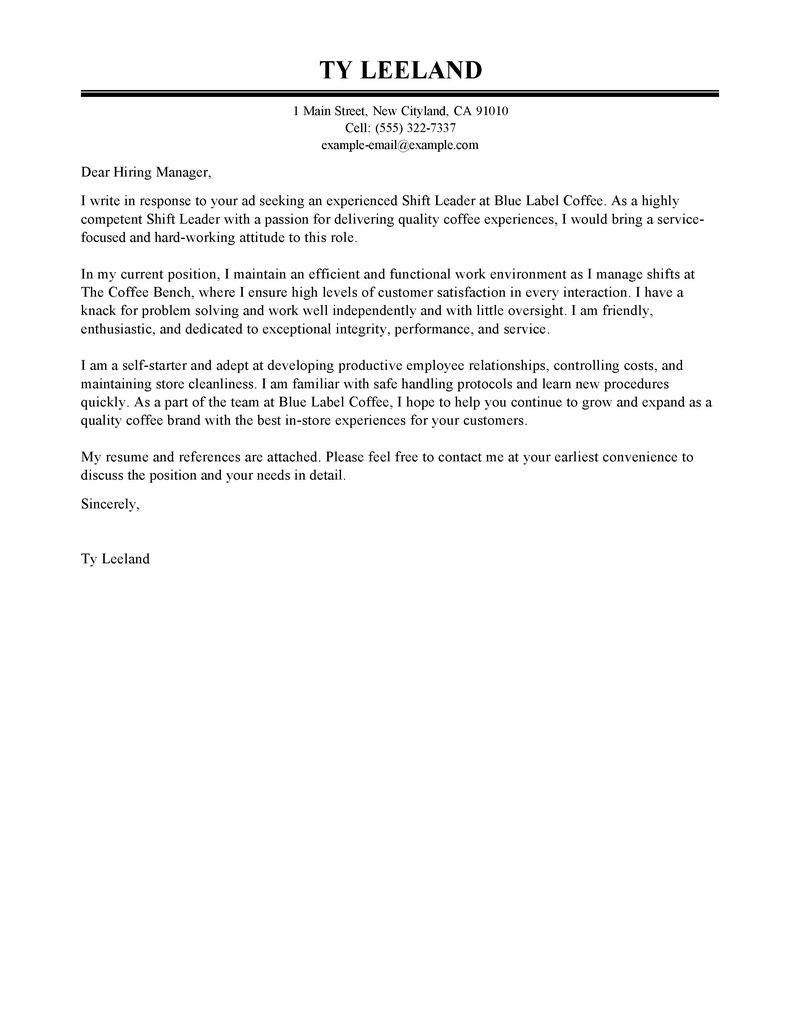 database manager cover letter