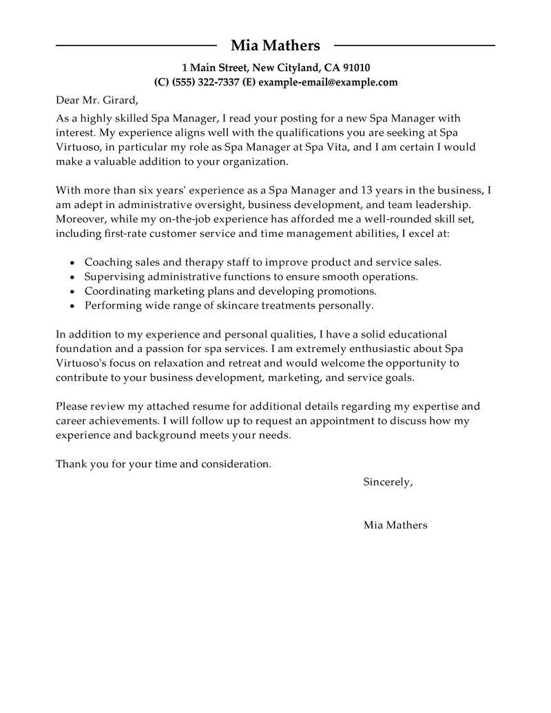 Spa Cover Letter Kirmi Yellowriverwebsites Com