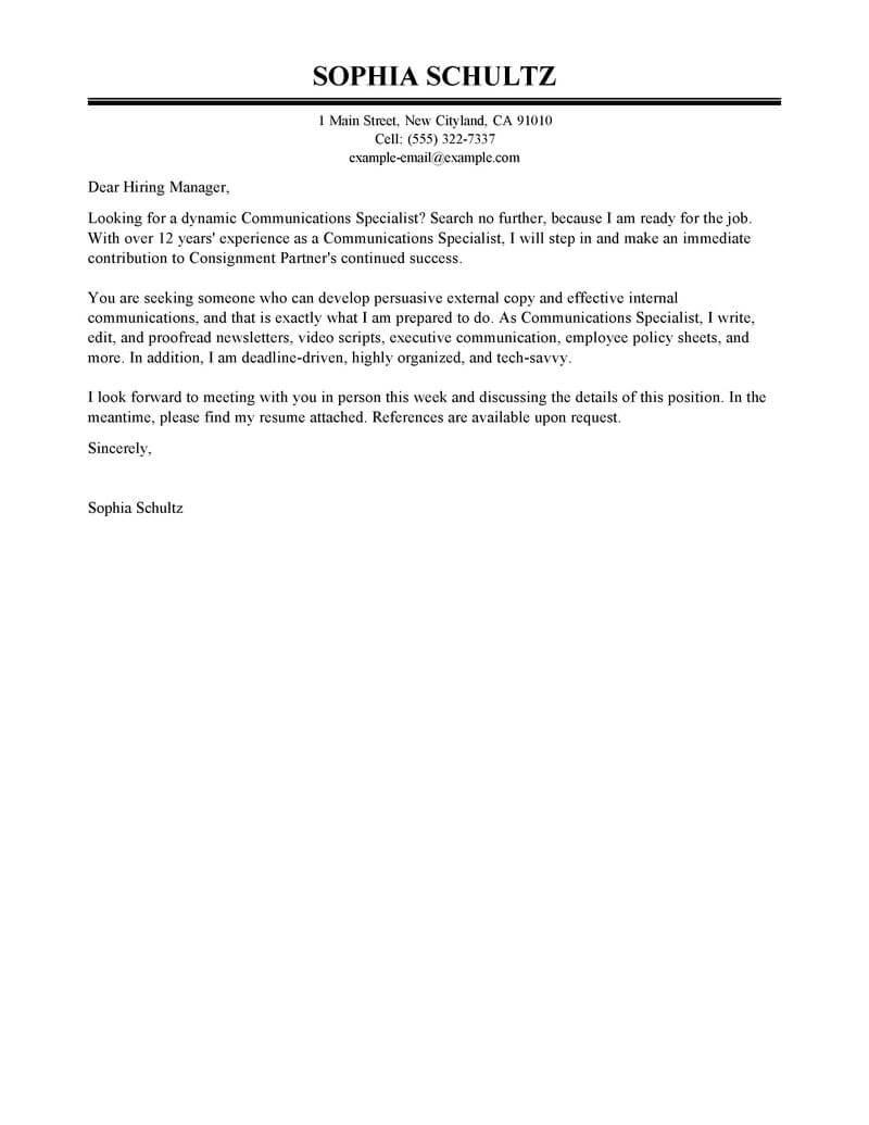 Public Relations Coordinator Cover Letter Sample