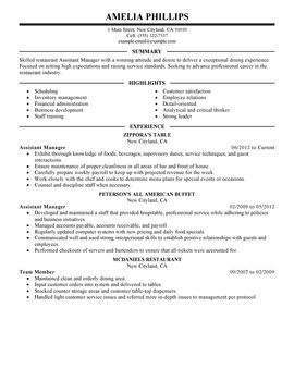 impactful professional food restaurant resume examples - How To Write A Resume For A Restaurant Job