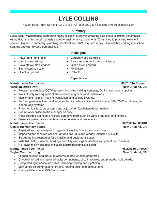 Hvac Sample Resume Objective Line For Template Good Technician Examples Entrancing Entry Level