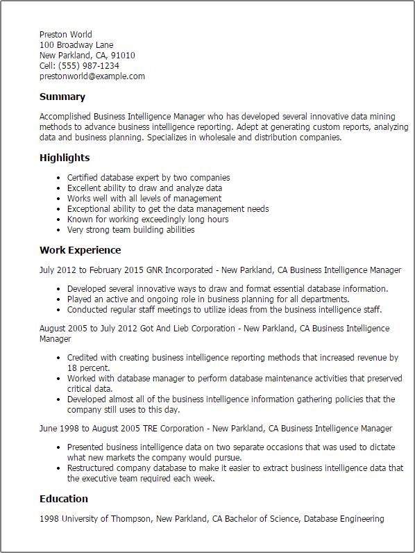 Business Intelligence Manager Resume - Resume Sample