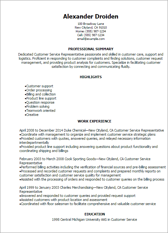 professional customer service representative resume templates to - Customer Service Representative Resumes
