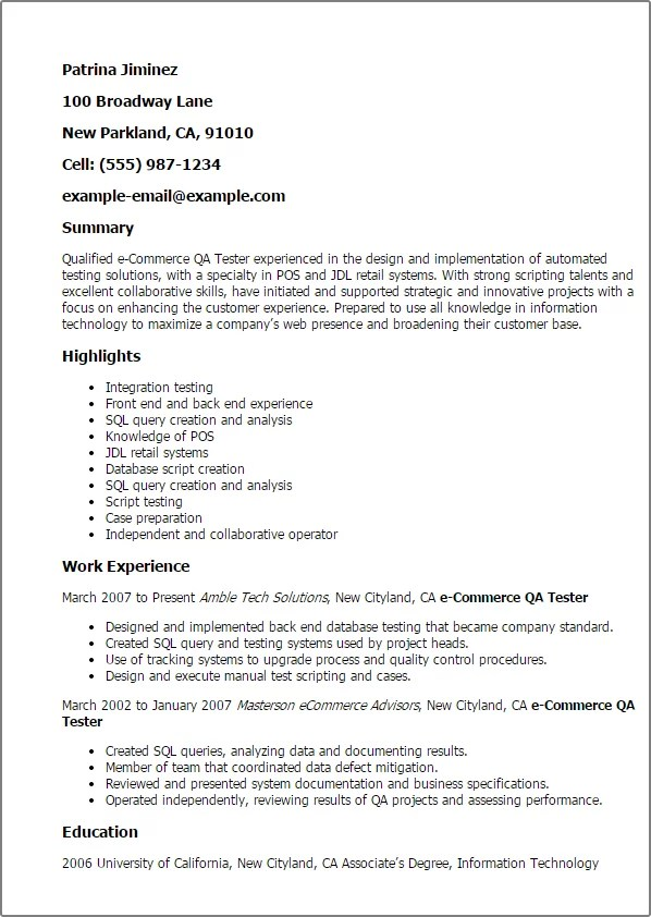 software testing resume sample software testing resume sample