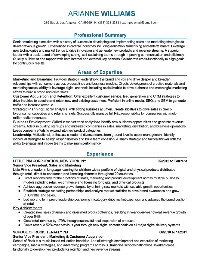 Marketing Executive Resume - Resume Sample