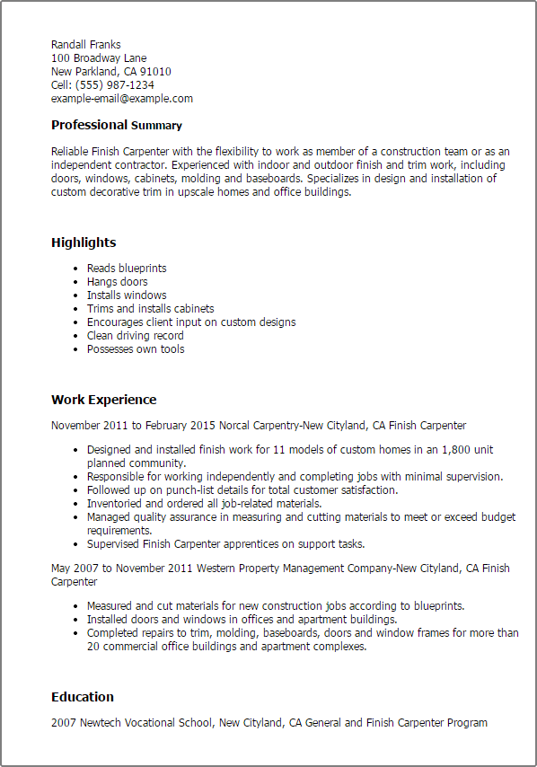 interior trim carpenter job description